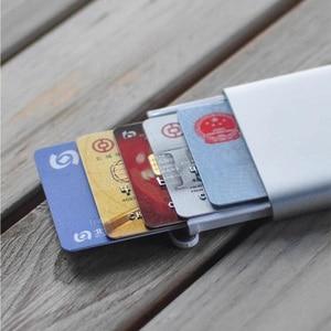 Image 2 - חדש Youpin MIIIW כרטיס מחזיק נירוסטה כסף אלומיניום כרטיס אשראי מקרה נשים גברים מזהה כרטיס תיבת מקרה כיס ארנק d5