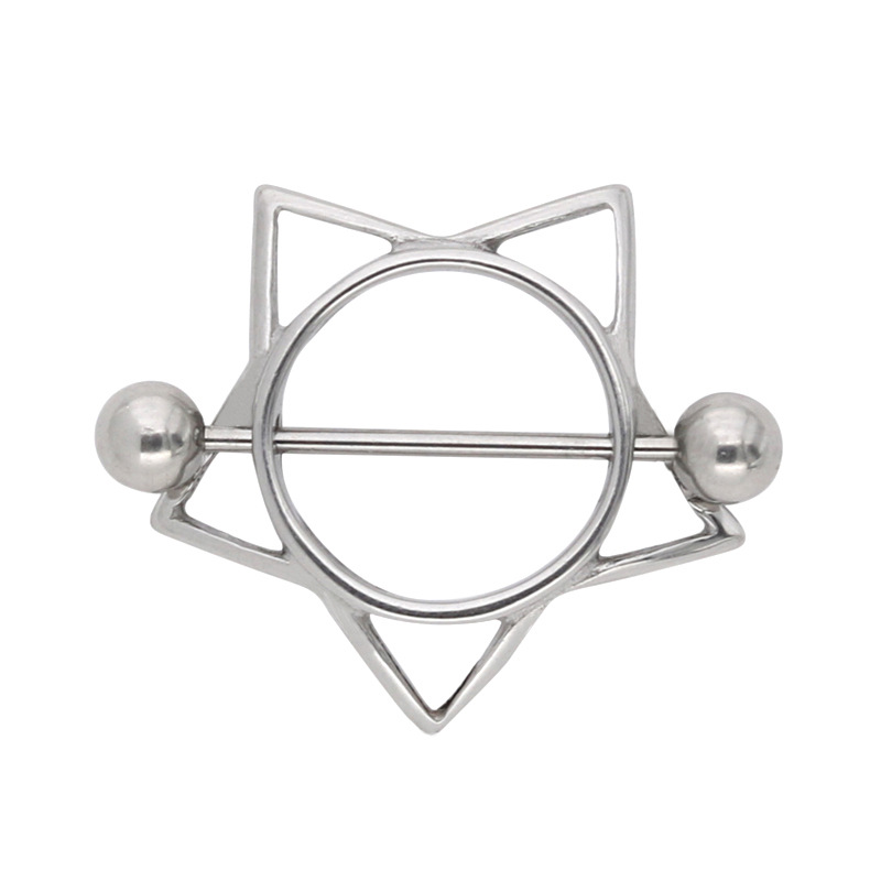 New Arrive Body Piercing Jewellery 316 Stainless Steel Pentagon Sexy Nipple Ring For -4199