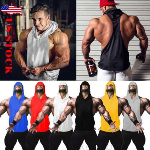 Simple Men's Solid Sleeveless Muscle Hooded Open-Forked Tank Top Bodybuilding Gym Workout Fitness Vest Hooded Pullover  S-XL