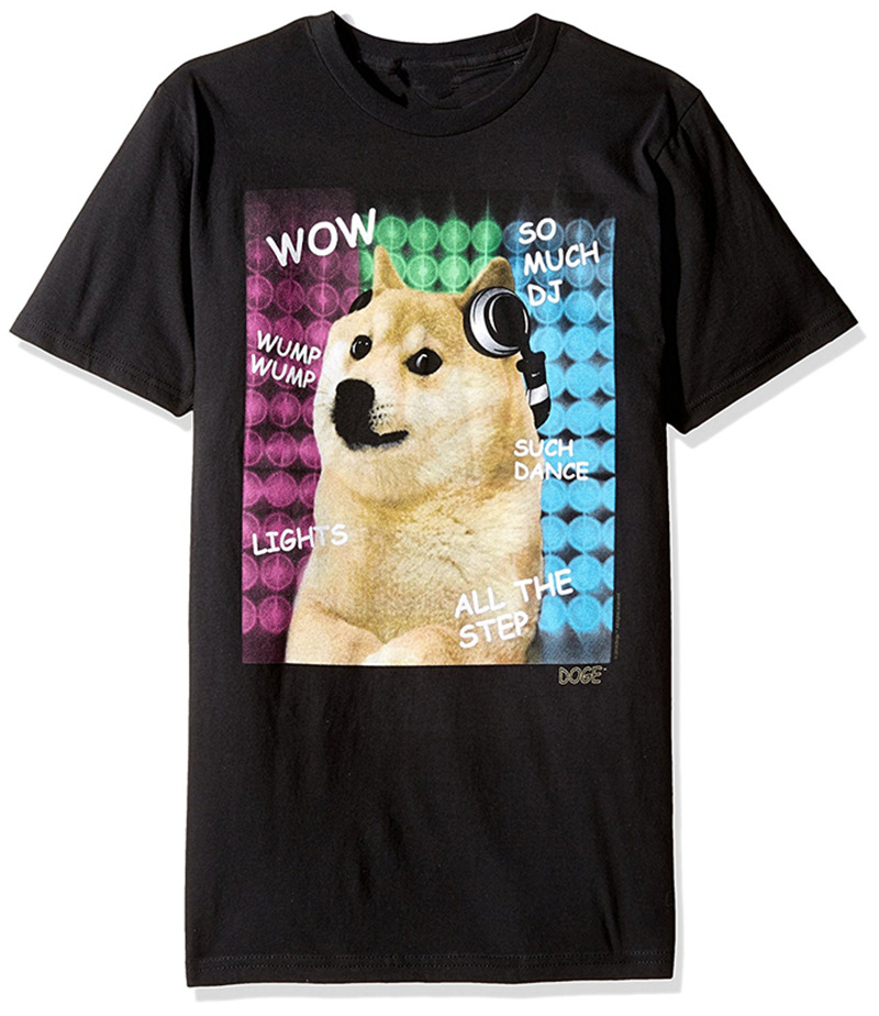 2018 New Pure Cotton Sleeves Hip Hop Fashion T Shirt Doge So Much Dj Graphic Crew Neck Men Short Sleeve Office Tee