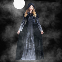 Adult Skull Skeleton Witch Long Hooded Dress Halloween Cosplay Costumes Hot