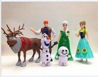 6 teile/satz Eis Abenteuer Farben Elsa Anna Olaf Hans Sven Schnee Königin Schnee Prinzessin Moive Modell Mädchen Traum 5-11 cm Spielzeug