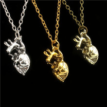 2016 Anatomical heart pendant necklace vintage anatomy heart Punk jewelry for men women