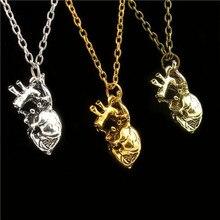2016 Анатомический сердце кулон ожерелье старинных анатомии сердца Панк ювелирные изделия для мужчин женщин