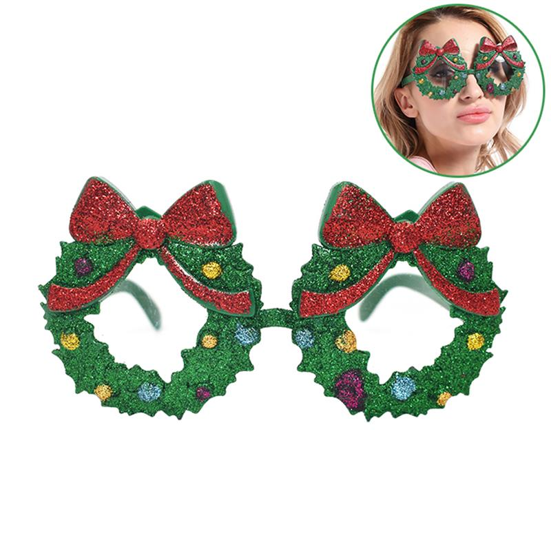 Christmas Glasses Wreath Shape CostumePixelated Video Game Glasses Party Favors Photo Booth Props Accessories Party image