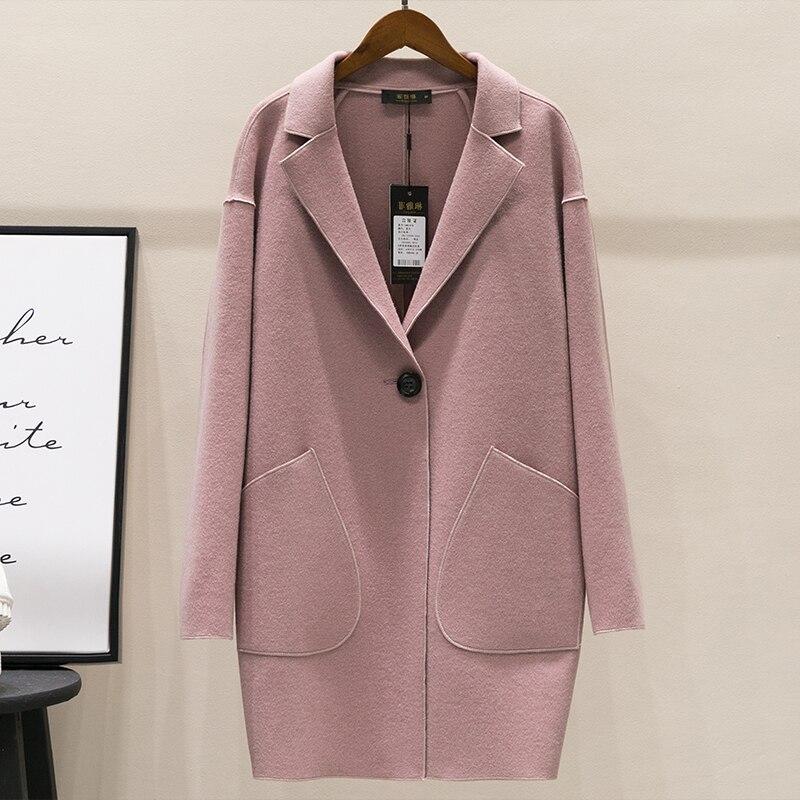 Nueva moda Otoño primavera capullo forma abrigo de lana las mujeres delgada botón abrigos prendas de abrigo chaqueta de lana Tops Mw425 - 4