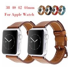 Ремешок ручной работы для Apple Watch 42 серии 5 4 3 2 1 40 мм 44 мм iWatch 5 4 ремешок из натуральной кожи 44 мм 38 мм браслет с пряжкой