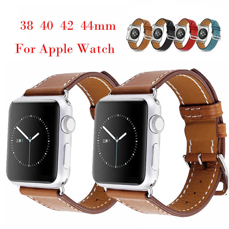 Handmade Band for Apple Watch 42 Series 4 3 2 1  40mm 44mm iWatch Genuine Leather Strap 44mm 38mm Bracelet with Classic Buckle