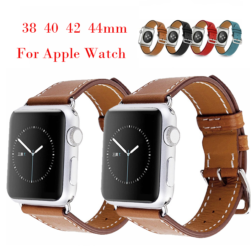 Handmade Band For Apple Watch 42 Series 5 4 3 2 1  40mm 44mm IWatch 5 4 Genuine Leather Strap 44mm 38mm Bracelet With Buckle