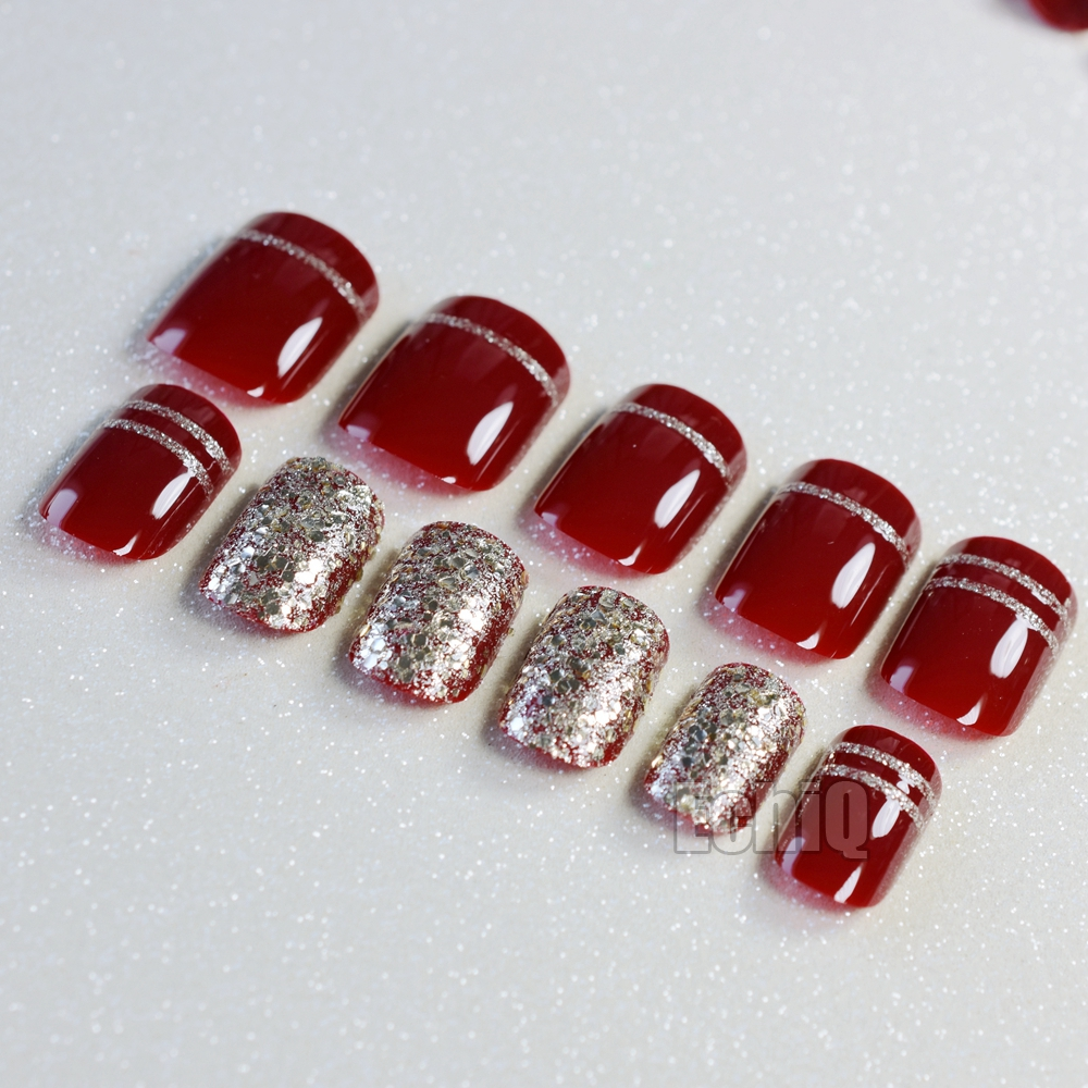 Shimmer Glitter French Artificial Nails Red Wine Medium UV Finished Fake Nail Tips Lady Daily Wear with Glue Sticker Z912