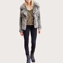 Grey faux fur coat jacket Winter Warm and Light Natural fox Fur Coat Women pelliccia ecologica manteaux fausse fourrure