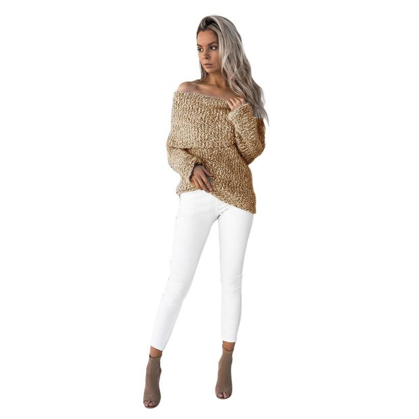 KLV 2017 fashion new Womens Sexy Off Shoulder Casual Long Sleeve Jumper  Sweaters Coat Blouse winter tops off shoulder sweater -in Pullovers from  Women s ... 49d560771