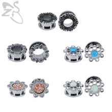 ZS Punk 316L Stainless Steel Ear Tunnels& Plugs Men's Crystal Stretch Marks for the Ears tunele do uszu pircing oreja cartilago(China)
