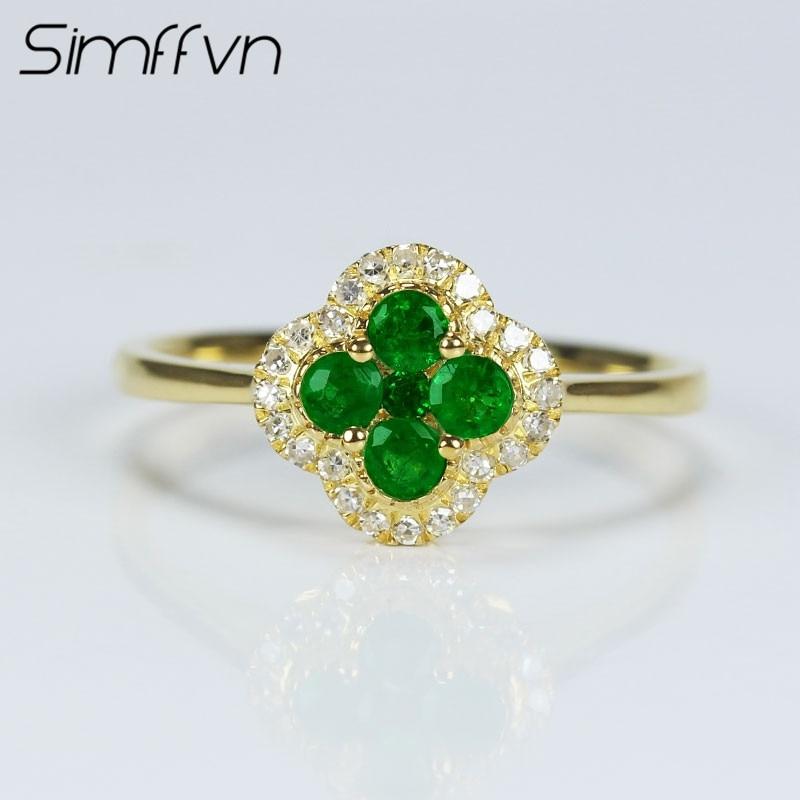 Simffvn Halo 18K Yellow Gold 0.26CT Emerald Flower Shape Rings For Women Engagement Ring Gemstone Bridal Ring Wedding Set