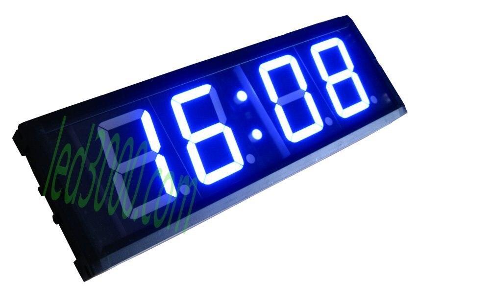 Hot prodat 12 / 24H modrá barva s vysokým jasem dálkové ovládání 4 palce 4digitální nástěnné LED hodiny (HIT4-4B)