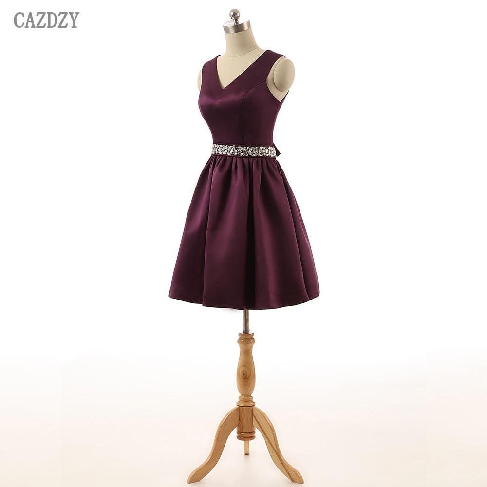 CAZDZY A Line V Neck Satin Women Knee Length Dress Sleeveless Crystal  Beaded Bridesmaid Dresses with Bow Real Photos 2018 abf04dd9e656