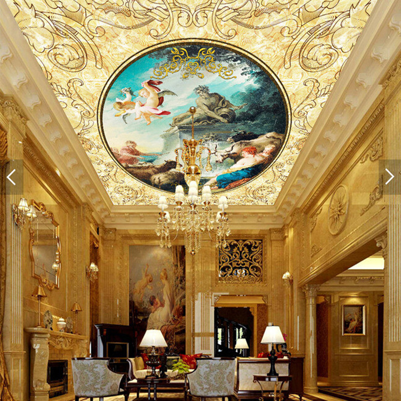 Custom ceiling wallpaper. Angel oil painting for the living room Hotel Restaurant ceiling wall waterproof vinyl wallpaper custom 3d ceiling wallpaper beautiful sky maple murals for the living room bedroom ceiling wall waterproof wallpaper