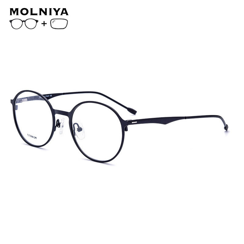 Round Titanium Alloy Prescription Glasses Men Women Ultralight Myopia Prescription Eyeglasses Metal Optical Frame  Eyewear(China)