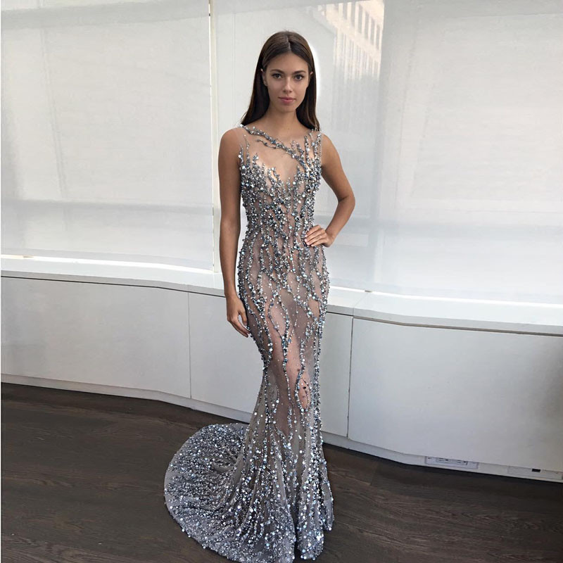Robe de Soiree 2019 Sexy See Through Crystal Beaded   Evening     Dresses   Long Backless Pageant Gowns Sexy Mermaid Arabia Prom   Dresses