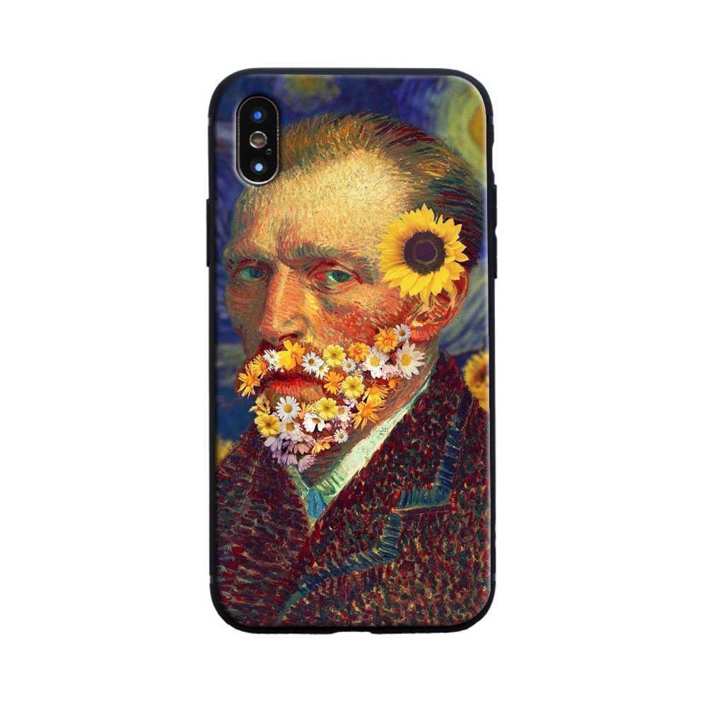 Van Gogh Potret Diri Floral Lembut Silicone Ponsel Case Penutup untuk Apple Iphone 6 6 S 7 7 Plus X XR X Max 5 5 S SE Case
