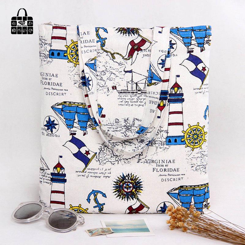 ROSEDIARY watchtower printing 100% cotton canvas Handbags large capacity Shoulder Shopping Beach Bags Women Girl Shoulder bags