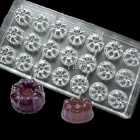 New Design Flower Moon Cake Shape Hard Plastic Inject Polycarbonate PC Cake Chocolate Mould MOLD