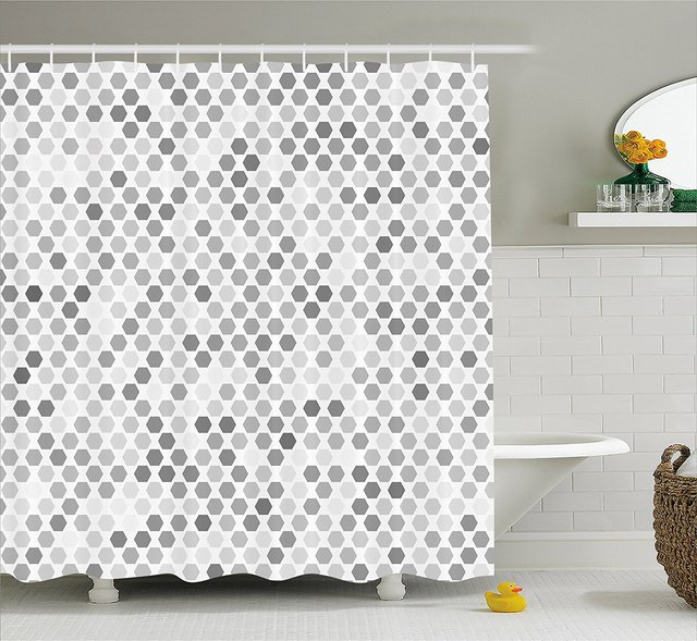 Grey Shower Curtain Abstract Zig Zag Hexagon Figures Vivid and Dark ...
