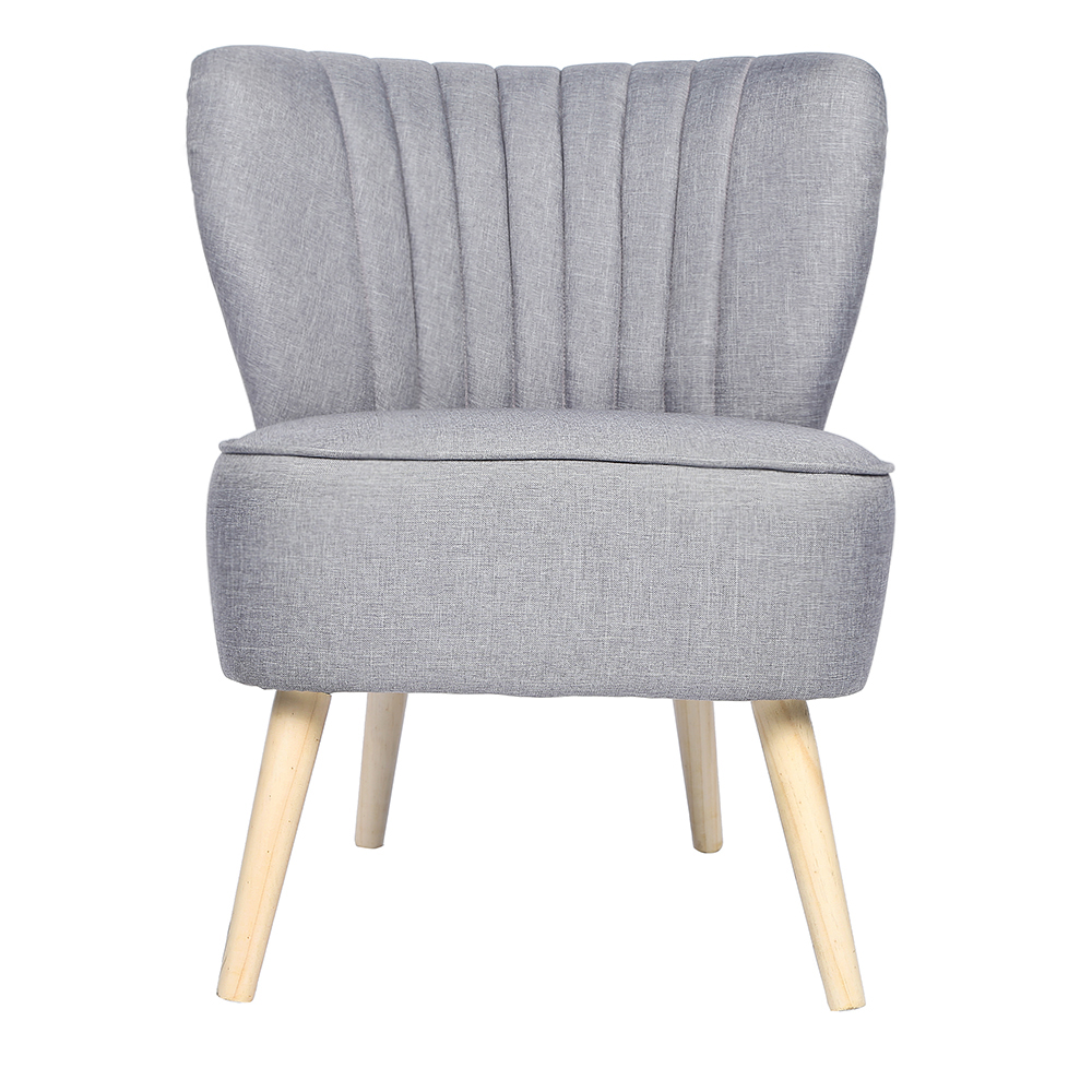 Grey Oyster Occasional Accent Chair With Natural Legs Fluted Back ...