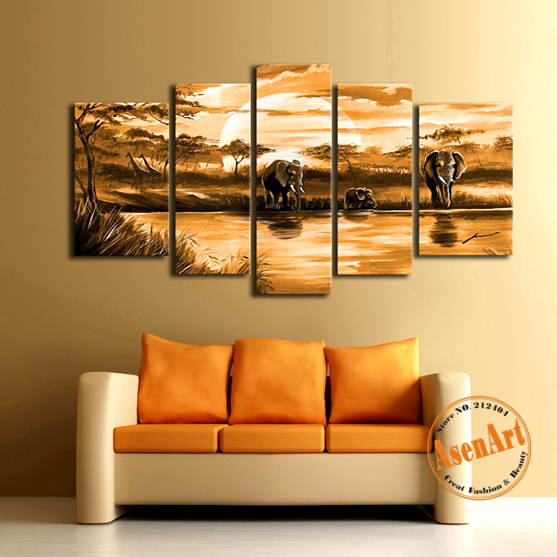 modern hand painted abstract oil painting on canvas 5pcs wild animal elephants family canvas painting wall
