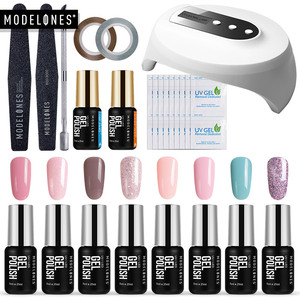Image 1 - Modelones 16Pcs/Lot Nail Gel Kits 36W Led Lamp USB Cable Nail Dryer Manicure Tools Set Any 8 Colors Gel Polish Base Top Coat