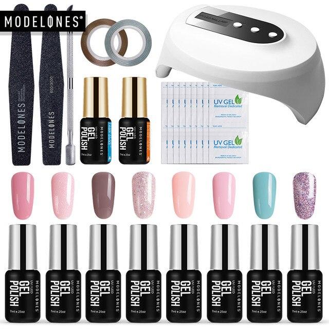 Modelones 16Pcs/Lot Nail Gel Kits 36W Led Lamp USB Cable Nail Dryer Manicure Tools Set Any 8 Colors Gel Polish Base Top Coat