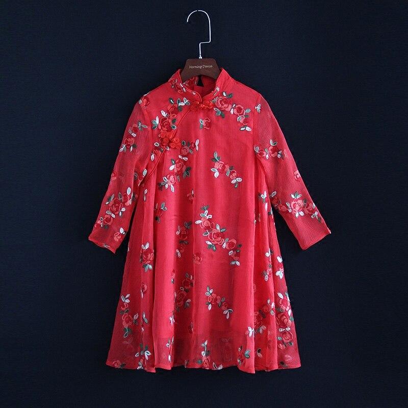 Spring mother daughter matching dress family children embroidery Chinese dress kids mum girls women custom made cheongsam dress все цены