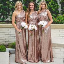 Sequin One Shoulder Popular Shinning Cheap Long Bridesmaid Dresses 2017 A Line Sequins Wedding Party Dress maid of honor BN129