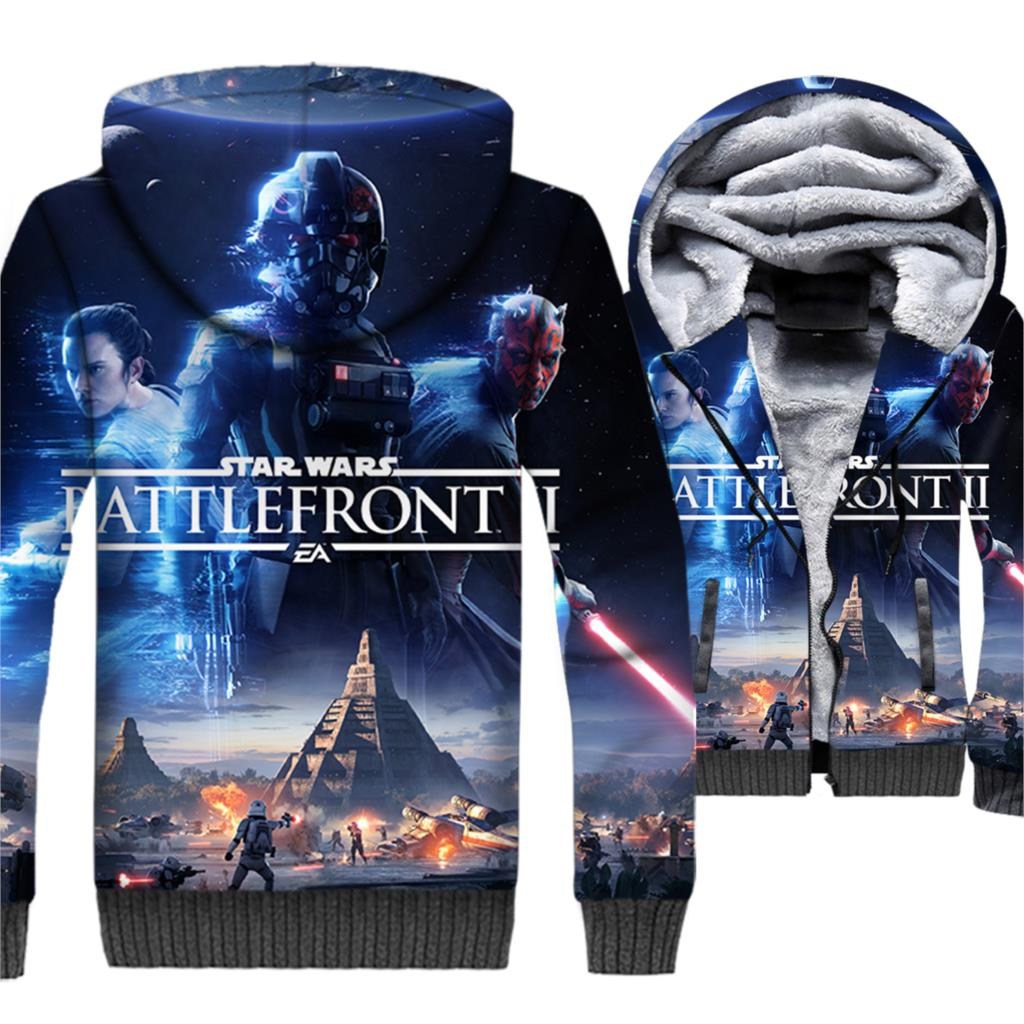 2019 male funny 3D prints hooded hoodie winter thick zipper star wars jackets coats clothing man's streetwear hip-hop jacket men