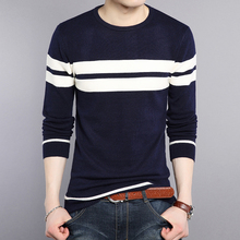 winter new men's sweater striped plus size thickening sleeve pullover men slim young sweater pullover men kerst trui trui mannen
