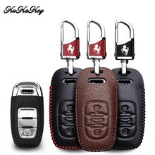 KUKAKEY Leather Car Key Case Cover For Audi A4l A3 A4 A5 A6 A8 Quattro Q5 Q7 Remote Smart Shell Holder
