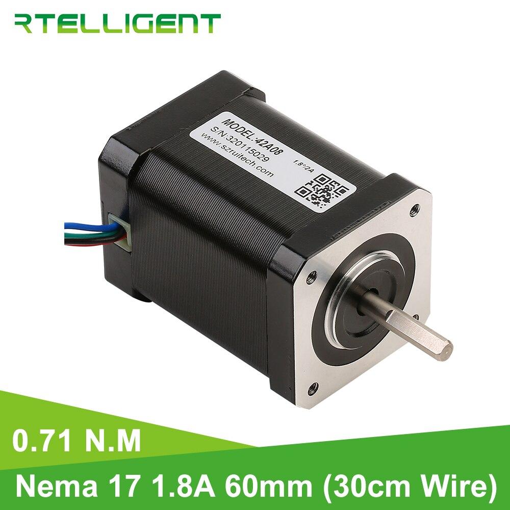 Rtelligent Nema 17 3D imprimante moteur 71kgcm 7.1N.M (100.5oz.in) 4 moteur pas à pas de plomb pour impression Robot bras