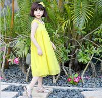 Girls Square Collar Solid Color Sleeveless Vest Beach Dress Children Kids Casual Long Chiffon Dress