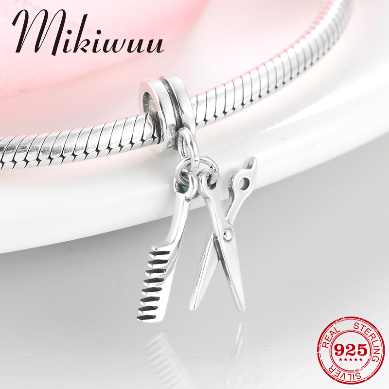 925 Sterling Silver Hairdressing Tools Scissors and Comb fine pendant bead Jewelry making fit Original Pandora Charm Bracelet in Beads from Jewelry Accessories