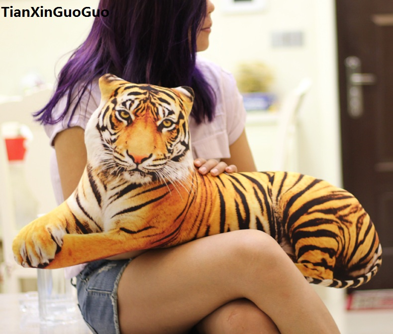 large 85cm Creative pillow 3D Dimensional cartoon yellow tiger plush toy cushion soft doll,hugging pillow birthday gift h1301 candice guo funny creative simulational chinese chess plush toy cushion pillow birthday gift 1pc