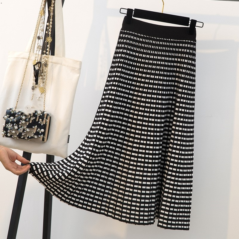 Knit Skirts Large Size Ladies' Fat Mm Thick Grid Knitted Skirts Joker Micro Fat Big Tall Waist Long Pleated Skirt