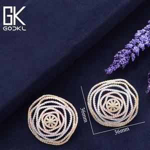 Image 5 - GODKI Luxury Geometry Cubic Zirconia Nigerian Big Stud Earrings For Women Wedding African Bridal Earrings boucle doreille femme