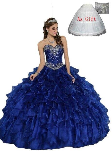 a096c3d6143 New Royal Blue Cheap Quinceanera Dresses 2016 Ball Gown Sweetheart Sweet 16  Dresses vestidos de 15