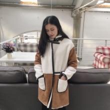 2016 зима средней длины ткань замши лоскутное берберский флис верхняя одежда утолщение мех один кусок пальто женщина