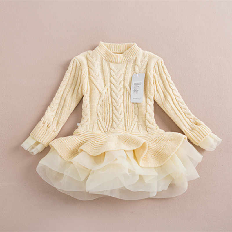 Вязаный свитер платье пуловеры свитера с кружевом короткие свитера платья длинный свитер с кружевом «кроше» для девочки детская одежда осень-зима 2016 оптом