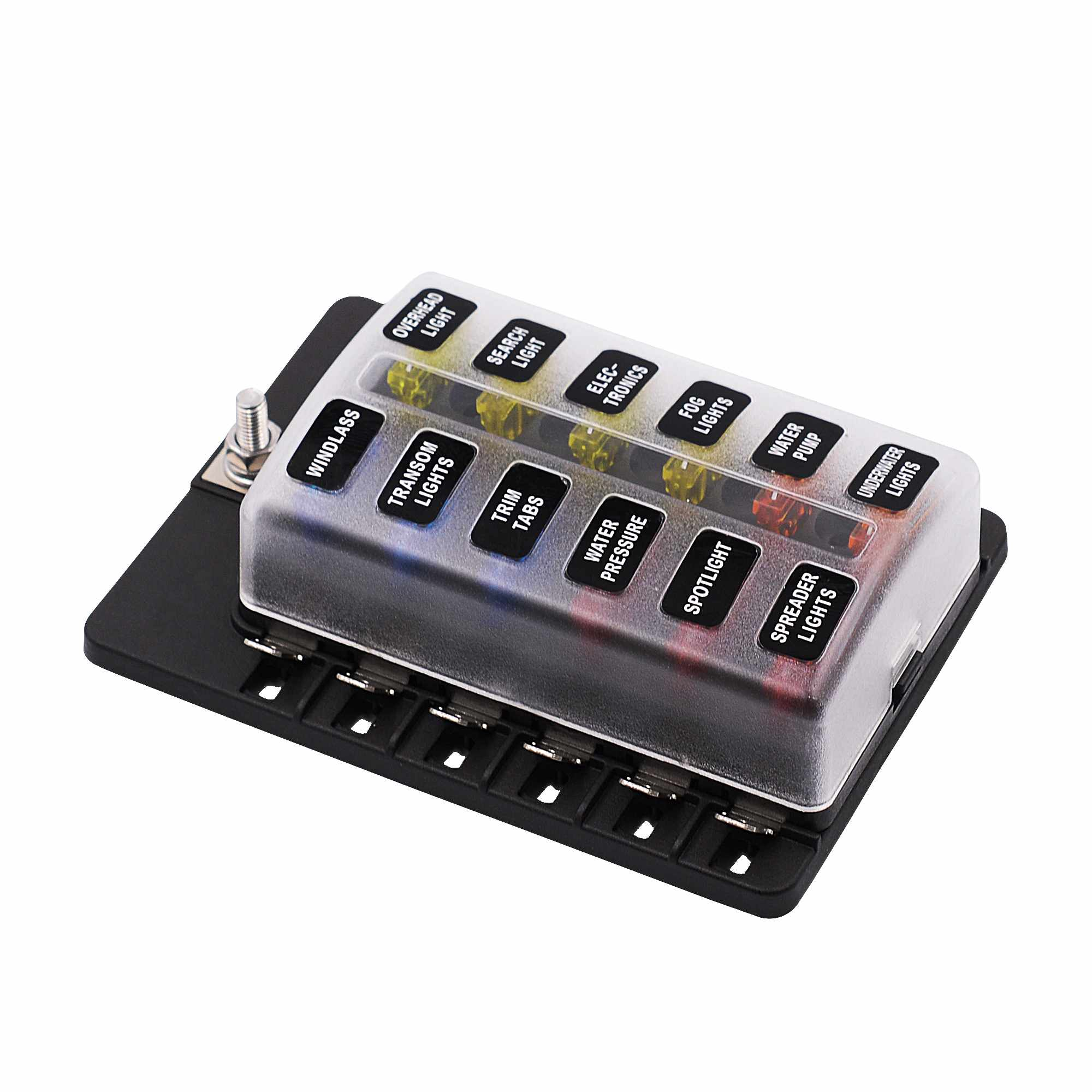 Universal Car Caravan Led 12 Way 20 12V 32V Circuit Standard Blade Fuse Box Holder universal car caravan led 12 way 20 12v 32v circuit standard blade  at panicattacktreatment.co