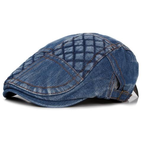 2019 Spring Summer Newsboy Caps Men Patchwork Washed denim Cotton Flat Peaked Cap Women Painter Beret Hats 18 Lahore