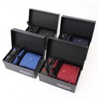 New Fashion Necktie Groom Gentleman Tie Set Wedding Birthday Party Gifts Tie For Men Gorgeous Silk High Quality Tie Set