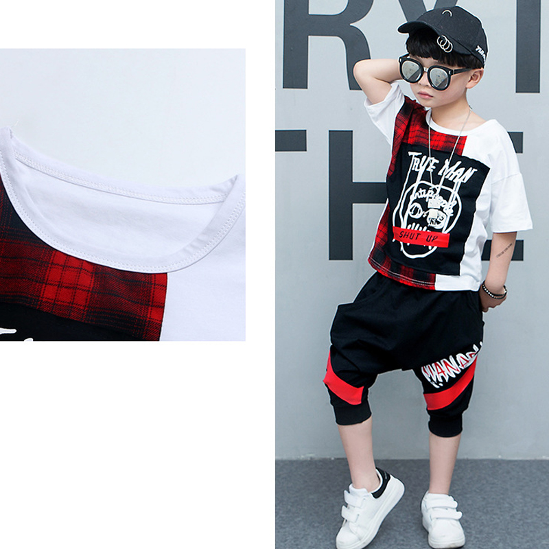 2019 summer children Clothing plaid tshirt harem pant toddler boy clothes Cool Kids Hip Hop Clothing Sports Suit costume for boy in Clothing Sets from Mother Kids
