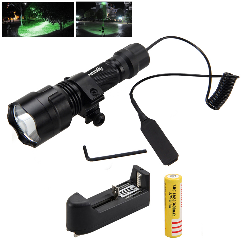5000 Lumen LED Flashlight Tactical C8 Green Lanterna Torch For Camping Hunting+18650+Remote Pressure Switch+Gun Mount+Charger5000 Lumen LED Flashlight Tactical C8 Green Lanterna Torch For Camping Hunting+18650+Remote Pressure Switch+Gun Mount+Charger